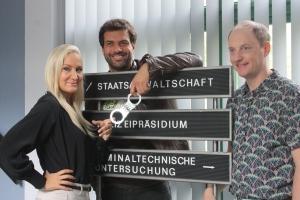 """Janine Kunze, Kai Schumann und Steffen WIll am Set von """"Heldt"""""""