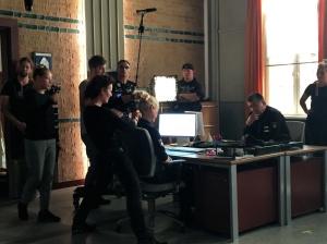 """Rhea Harder-Vennewald und Bruno F. Apitz während der Dreharbeiten zu """"Notruf Hafenkante"""""""