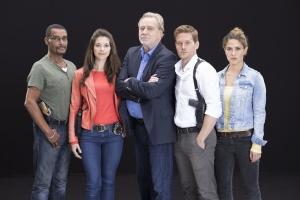 """Das Cast der """"Soko München"""" - von links:  Christofer von Beau, Bianca Hein, Gerd Silberhauer, Joscha Kiefer, Amanda de Gloria"""